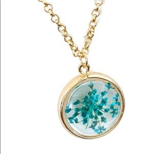 Floating glass flowers Pendant Charm Gold Necklace
